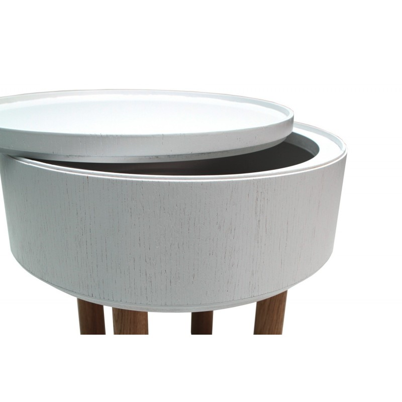 Table Basse Coffre Ronde Design Hat Blanche Bellila